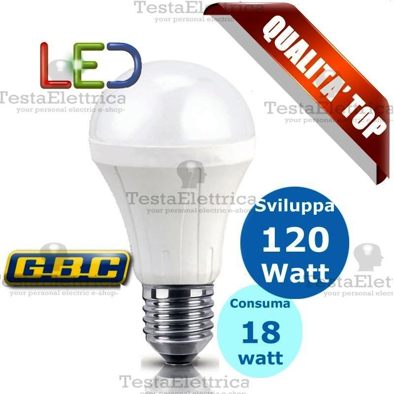 lampadina watt : ... > Led attacco E27 e E14 > Lampadina a led goccia 18 Watt E27 Gbc