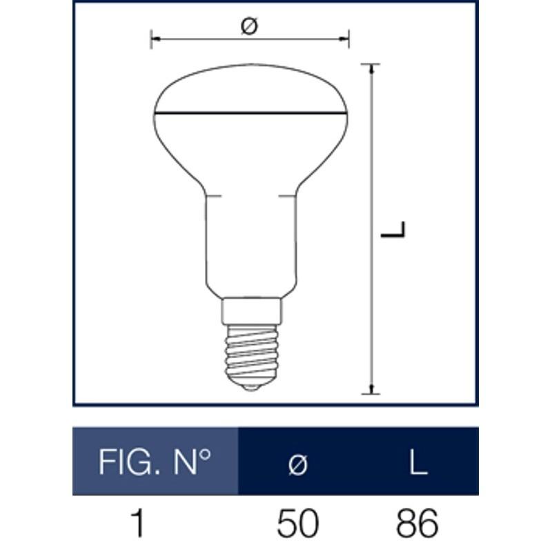 Lampada a led reflector r50 e14 6 w wiva for Lampada led 50 watt