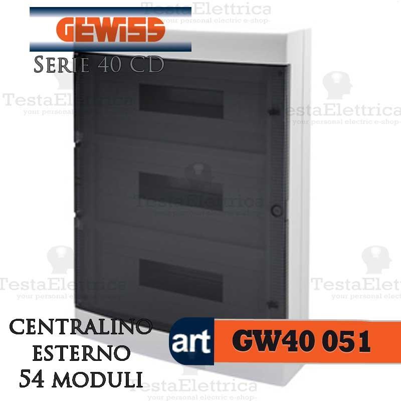 Centralino 54 moduli per quadri elettrici esterni 40051 gewiss for Centralino esterno 4 moduli