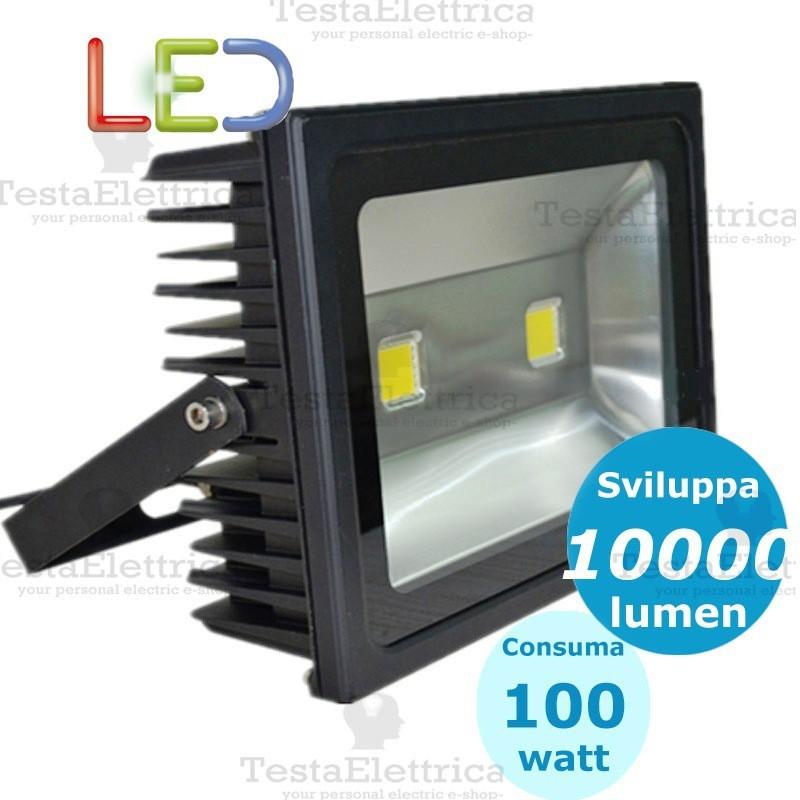 Faro a led 100 watt nero dgk for Lampadine led 100 watt