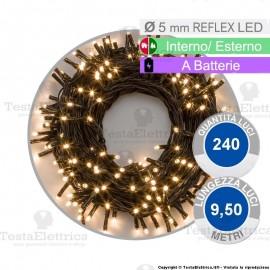 Serie da 240 reflex LED Bianco Caldo a batterie per interno ed esterno