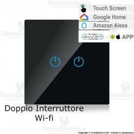 Doppio Interruttore Touch WI-FI multifunzione Nero