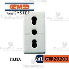 Presa 10/16A 2P+ T bianca Gewiss System GW20203