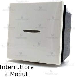 interruttore 2 moduli compatibile bticino axolute bianca