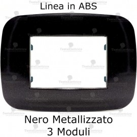 Placca Nero Metallizzato 3,4 e 6 moduli in ABS compatibile con serie Bticino Axolute