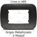 Placca Grigio Metallizzato 3,4 e 6 moduli in ABS compatibile con serie Bticino Axolute
