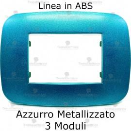 Placca Azzurro Metallizzato 3,4 e 6 moduli in ABS compatibile con serie Bticino Axolute