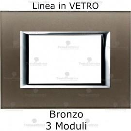 placca compatibile bticino living in vetro colore Bronzo