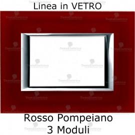 placca compatibile bticino living in vetro colore Rosso Pompeiano