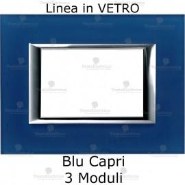 placca compatibile bticino living in vetro colore blu