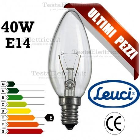 Lampada a incandescenza oliva chiara  40W E14 Leuci