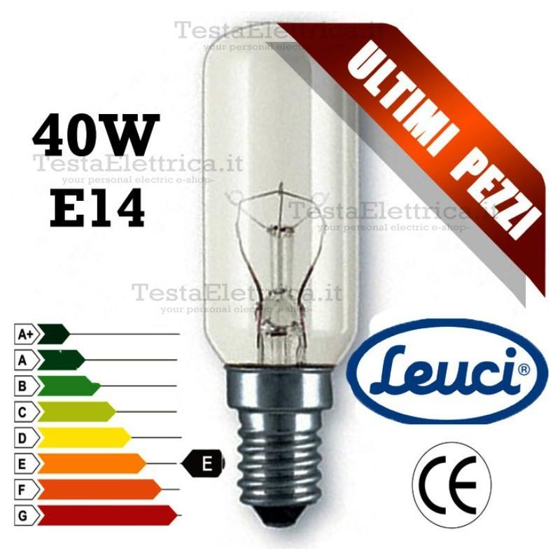 Tubolare per cappa a incandescenza e14 40watt leuci for Lampada tubolare led