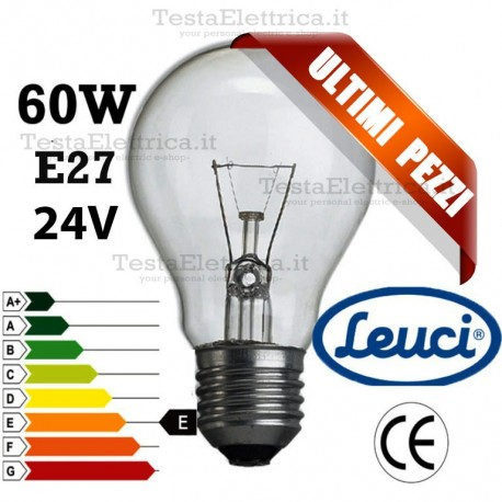 Lampada a incandescenza goccia 24Volt 60W E27 Leuci