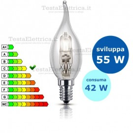 Lampada alogena Colpo di Vento 42W E14 Leuci
