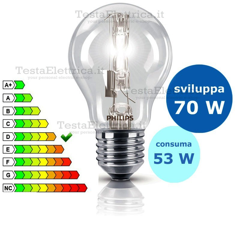 Goccia alogena ecoclassic 53 watt e27 philips for Lampada alogena