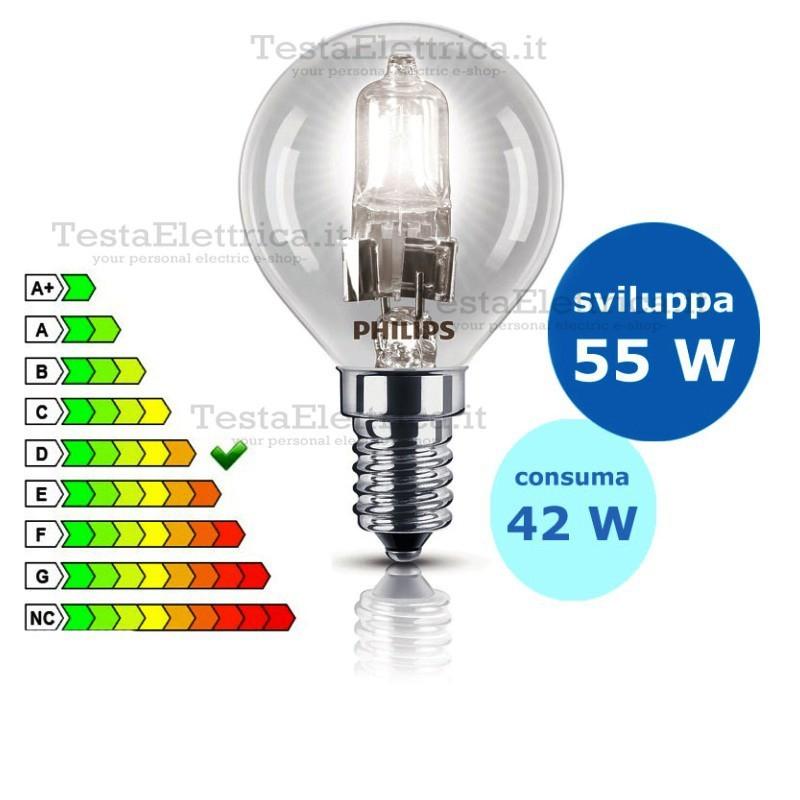 Sfera alogena ecoclassic 42 watt e14 philips for Lampada alogena