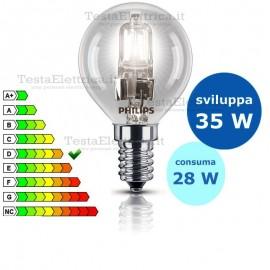 Lampada alogena sfera 28W E14 Philips