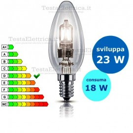 Lampada alogena oliva 18W E14 Philips