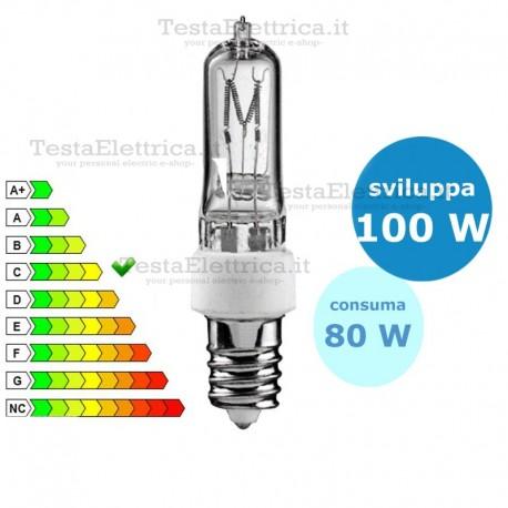 Tubolare alogena halo 80 watt e14 leuci for Lampada tubolare led