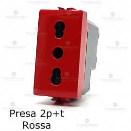 Presa rossa per utenze privilegiate UPS compatibile con serie Bticino living