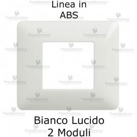 Placca 2 moduli bianca in ABS compatibile con serie Bticino Matix