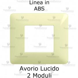 Placca 2 moduli avorio  in ABS compatibile con serie Bticino Matix