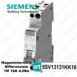 Interruttore Magnetotermico Differenziale 1M 16A  220V Siemens