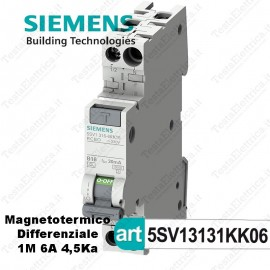 Interruttore Magnetotermico Differenziale 1M 6A  220V Siemens