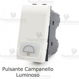 Pulsante campanello bianco illuminabile compatibile con serie Bticino LivingLight