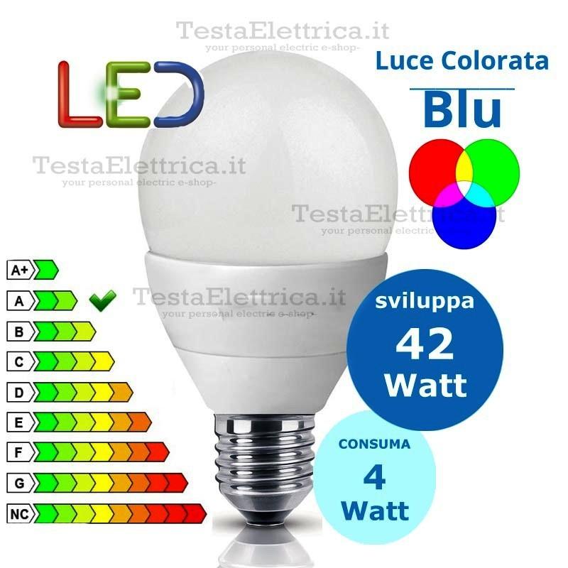 Lampada a led goccia 4 watt attacco grande e 27 colorata for Lampadina led blu