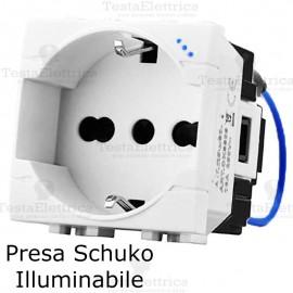 Presa std tedesco italiano luminosa compatibile bticino living light