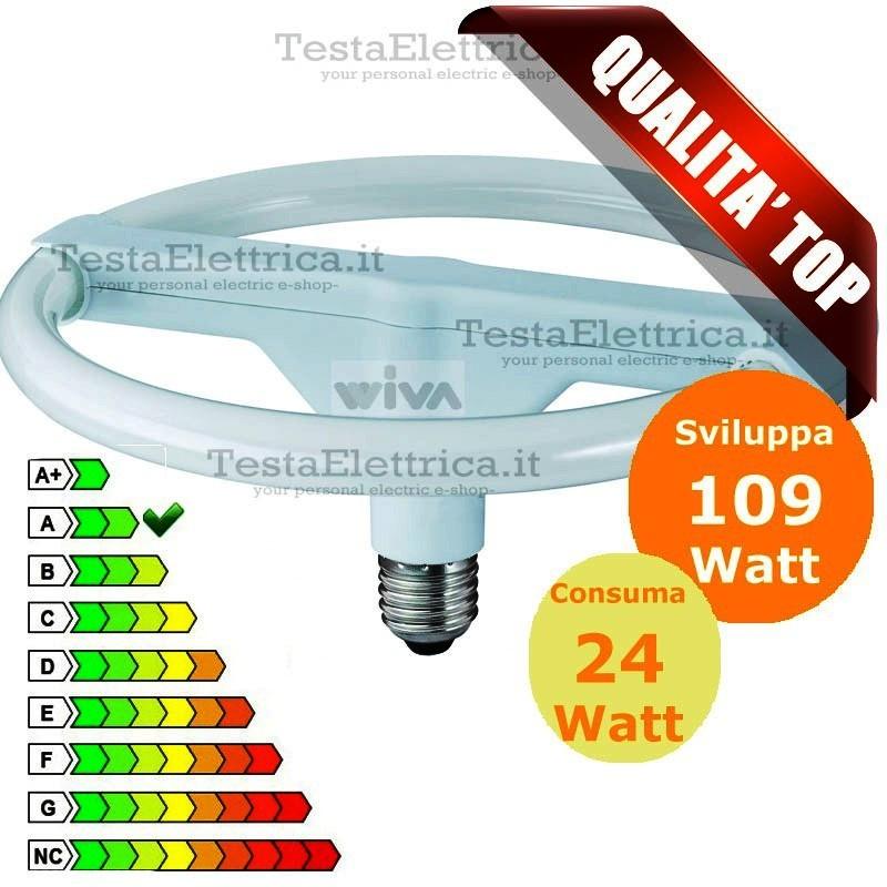 Circolina a risparmio energetico e27 24 watt wiva for Lampade a led watt