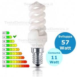 Lampada al Neon 11 Watt E14 MiniSpirale Wiva