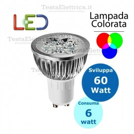 Lampada led Colorata GU10 220V 6W MR16 Dgk