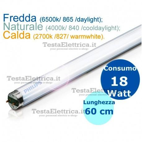 Tubo a neon 60 cm 18 watt cm T8 Standard Trifosforo Leuci o Philips