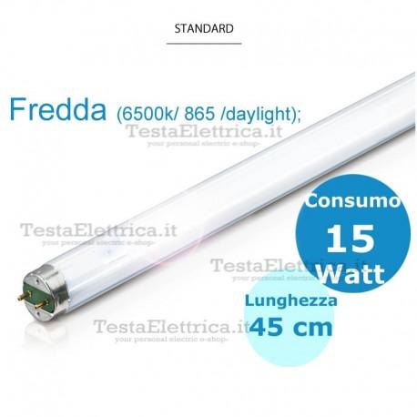 Tubo a neon 45 cm 15 watt cm T8 Standard Trifosforo Leuci