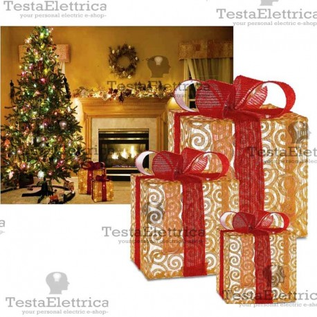 Pacchi Natale Luminosi.Pacco Regalo Luminoso A Led Natalizio Rosachristmas