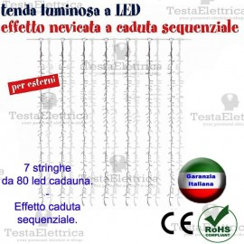 Tenda Luminosa a Led effetto nevicata  sequenziale- RosaChristmas