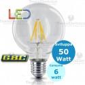 Lampada filo led Globo trasparente  tutto vetro 6 Watt E27 GBC