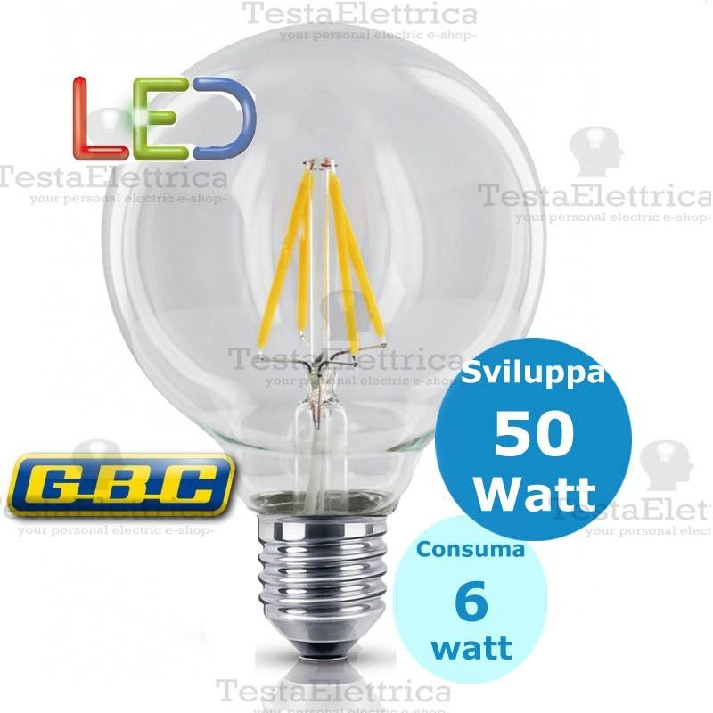 Lampada filo led a globo trasparente e27 gbc for Lampade a led e 27