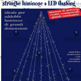 Stringa Luminosa a Led pofessionale Lunghezza 15 metri prolungabile RosaChristmas
