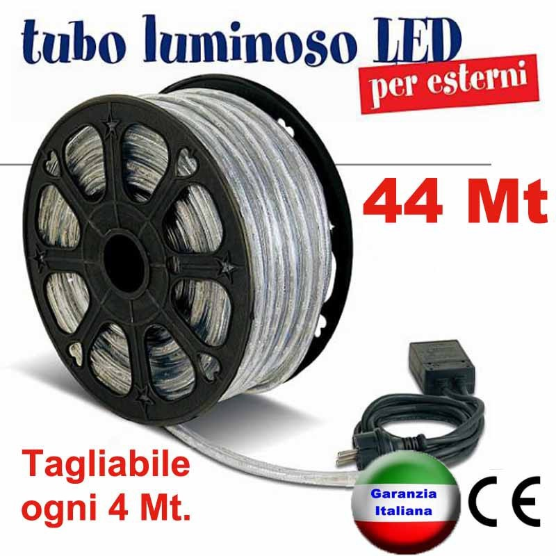 Tubo luminoso a led natalizio bobina 44 metri for Tubi luminosi led