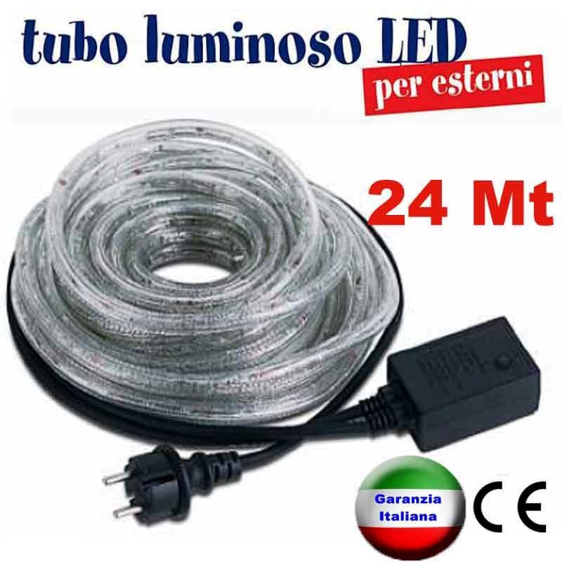 Tubo luminoso a led natalizio bobina 24 metri sconto per for Luci a tubo led
