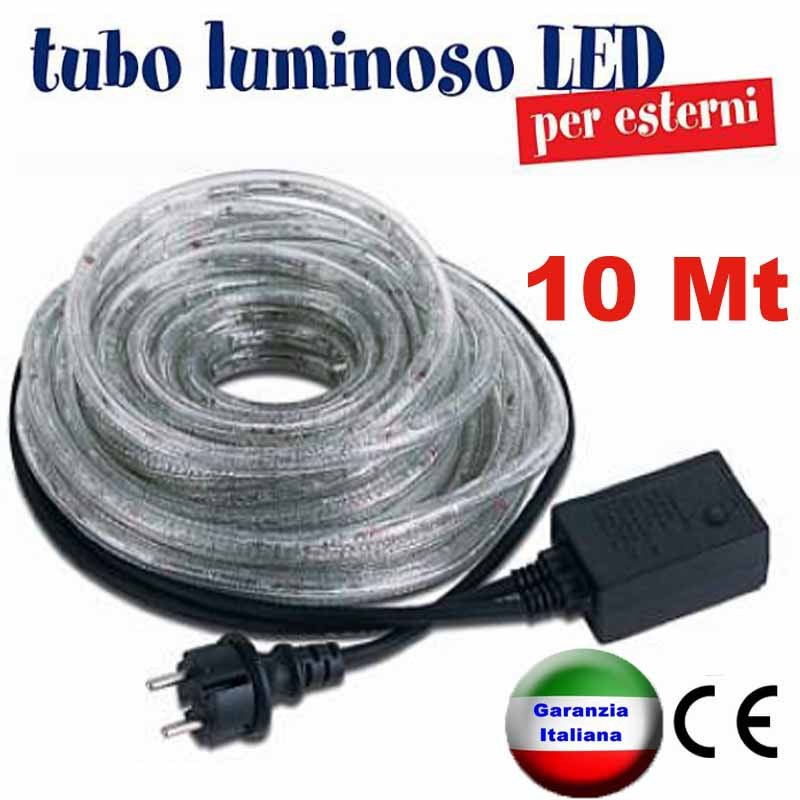 Tubo luminoso a led natalizio bobina 10 metri for Tubi luminosi led