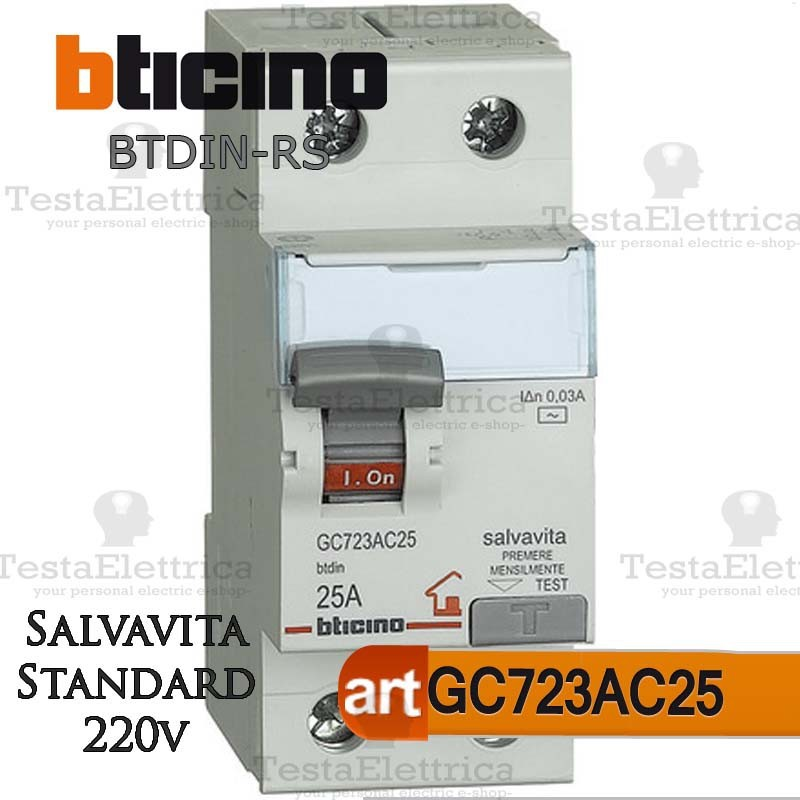 Bticino GC723AC25 Interruttore Salvavita Differenziale ...