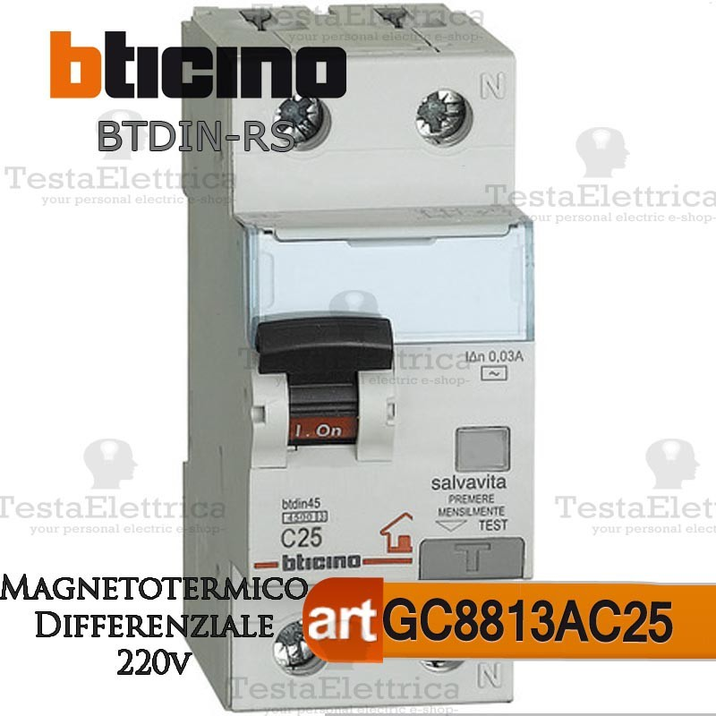 220 Volt Outlet >> Bticino GC8813AC25 Interruttore Magnetotermico ...