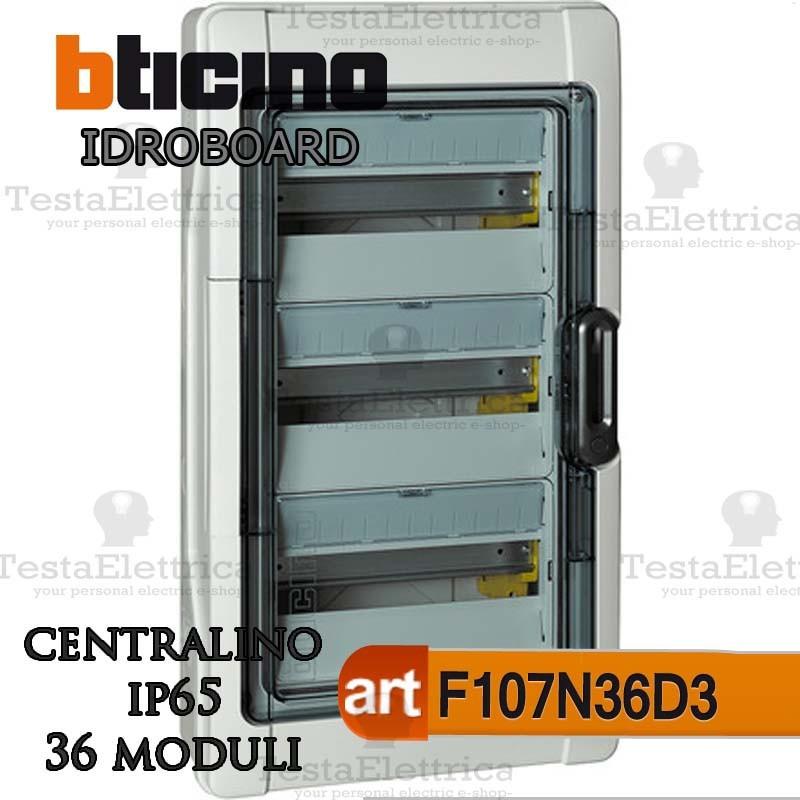 Bticino f107n36d3 centralino ip65 linea idroboard 36 for Centralino esterno 4 moduli