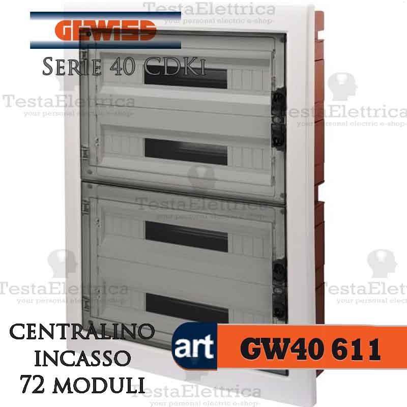 Gewiss gw40611 centralino ip40 72 moduli portello fum per for Quadro esterno 72 moduli
