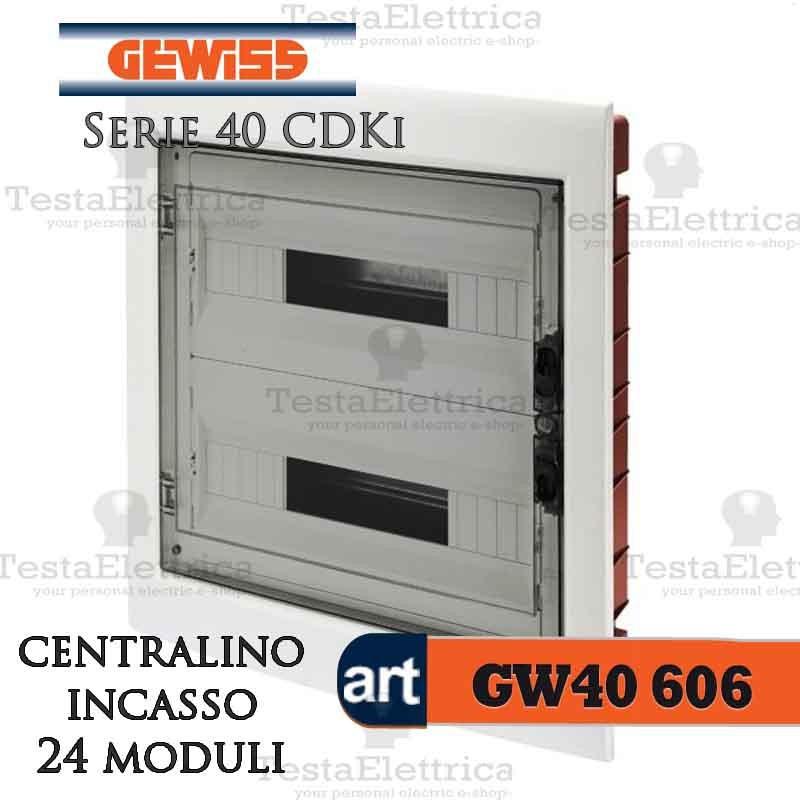 Gewiss gw40606 centralino ip40 24 moduli portello fum per for Centralino esterno 4 moduli