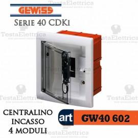 Centralino 4 moduli  per quadri elettrici incasso 40602 Gewiss